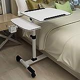 ZGYZ Mesa de Cama Mesa de Noche movible de Altura Ajustable, Escritorio para portátil con sofá, con Ruedas, Bandeja de Almacenamiento (A)