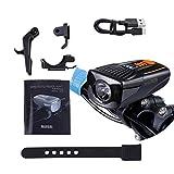 Asvert Luz de Bicicleta Delantera Potente Inteligente,Luz Bicicleta Recargable USB 1600mAh,Linterna Bicicleta Impermeable 400LM,6 Modos,para Carretera y Montaña - Seguridad para la Noche