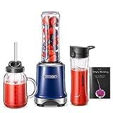 AICOOK Batidora Mix & Go Mini Smoothie Maker, Batidora, 300 vatios, Cuchillo de 4 Cuchillas, Botella de plástico Tritan de 600 ml, Acero Inoxidable Cepillado