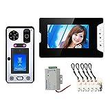 Videoportero, Kits de sistema de intercomunicación de Timbre de Video de 7 pulgadas, RFIC cámara + monitor, con desbloqueo de tarjeta IC de huella digital de reconocimiento facial