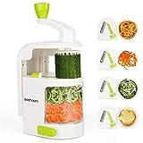 Espiralizador vegetal Sedhoom Cortador de Verduras MultiFunción de Alimentos 4 Cuchillas, Espiralizador de Picar Frutas, Verduras, Zanahorias, Cebollas, para la Salsa, Ensalada