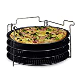 Relaxdays Set de 4 Bandejas Pizza Horno con Soporte, Plato Redondo, Molde, Antiadherente, Metal, 32 x 32 cm, Antracita