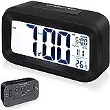 Arespark Despertador Digital, Reloj Alarma Electrónico con Luz de Noche, Pantalla LCD de 5.3 Pulgadas con Hora Fecha Temperatura, Función Snooze, Negro (Superficie de Goma)