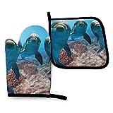 Ocean Animal - Juego de manoplas y porta ollas para horno con diseño de delfín divertido, esteras para mostrador de cocina, manoplas de horno resistentes al calor para cocinar, barbacoa, hornear, parr