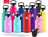 KollyKolla Botella de Agua Acero Inoxidable, Termo Sin BPA Ecológica Reutilizable, Botella Termica con Pajita y Filtro, Water Bottle para Niños & Adultos, Deporte, Oficina, Yoga, (350ml Rojo)