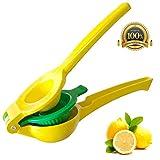 Exprimidor de limón,prensa de cítricos manual de metal resistente para limones, naranjas de lima y extracto de todos los jugos de frutas (amarillo)