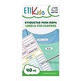 ETIKIDS 40 Etiquetas para ropa personalizables, de colores, para la guardería y colegio. (Formas)