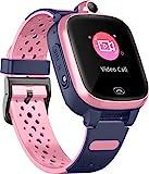 4G Reloj Inteligente para Niños - Smart Watch con GPS con Posición en Tiempo Real a Prueba de Agua, WiFi, Mensaje de Videollamada, Podómetro, Geofence SOS, Anti-Pérdida de Educación Temprana (Rosa)