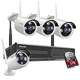 Sistema de videovigilancia doméstico inalámbrico del sistema de la cámara de vigilancia Kit, con visión nocturna, 1080p 8CH NVR con HDD de 1 TB apto para el hogar y la oficina