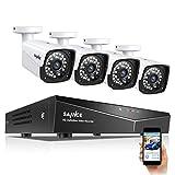 SANNCE Kit de Seguridad XPOE 1080P 4CH NVR y 4 IP Cámaras de vigilancia 2MP IP66 Impermeable Interior/Exterior Visión Nocturna 100pies/30m Alerta de detección de Movimiento-sin HDD