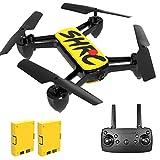 Drone con Cámara 4K HD, Drone para Principiante con WiFi FPV, Altitude Hold, Modo sin Cabeza, Plegable, 2 Baterías, Vuelo de 25 Minutos, Control Remoto RC Quadcopter Drone para Adultos (Amarillo)