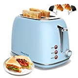 Tostadora, Morpilot Tostadora de pan 815 W, 2 Ranura Larga, Control de temperatura de 6 velocidades, Acero inoxidable,La función de deshielo y recalentamiento, es su asistente de desayuno (Azul)