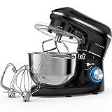 Robot de cocina, amasadora (1400 W, con bol de acero inoxidable de 5,5 L, amasador, batidor,varillas y protección para salpicaduras, 6 velocidades, silencioso) Negro