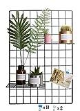 WJSX DIY Hierro Rejilla Cuadrícula Panel/Multifunción Metal Mesh Pared Foto Pared/Decoración de la Pared/Organizador Creativa (Negro, 65 * 45cm)