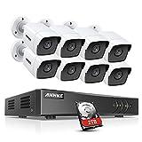 Annke Sistema de Vigilancia Ultra HD Vídeo 5MP Lite H.265 + DVR, 8CH+8 Cámaras Impermeables, IP67, 5 Mpx, Cámaras de Seguridad con 2TB Disco Duro(Visión Nocturna, Acceso Remoto, Detector Movimiento)