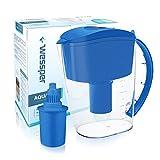 Wessper Jarra de filtrado de agua alcalina AQUApro (3.5L) con 1 cartucho alcalino, Filtración ionizador de 7 etapas, sin BPA, Reloj eléctrico, Azul