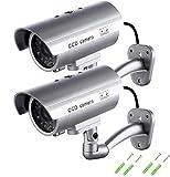 Cámara Falsa, Dummy Cámara de Seguridad Vigilancia Falsa Inalámbrico Impermeable Sistema de Vigilancia IR LED Parpadeante Fake Cámara Simulada CCTV (2Pcs) (2 Packs)