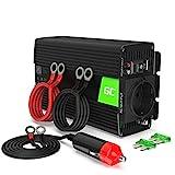 Green Cell® 500W/1000W 24V a 220V/230V Onda sinusoidal modificada Inversor de Corriente DC AC Power Inverter Transformador de Voltaje para Camion con Puerto USB y Pinzas de conexión a batería