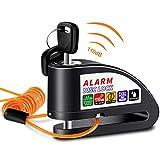 Anykuu Candado Disco Moto con 1.5m Cable y Bolsa Cerradura Dispositivo antirrobo de Bloqueo de Disco con Alarma antirrobo de Acero 7mm 110DB