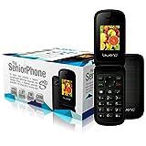 Biwond S10 Dual SIM SeniorPhone (Botones y Pantalla Grande, Números Muy Visibles, Slot de Memoria Ampliable, Sonido Alto, Radio FM, Bluetooth, Cámara Trasera, Alarma, Acceso Directo a Números Favoritos, Auriculares) - Negro