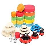 DAXINYANG Colorful Linght 29pcs encerar Esponja for pulir de Lana Copia de la Placa del Coche Herramienta de Pulido fijado for pulidora de la máquina pulidora de Lavado de Coches Accesorios