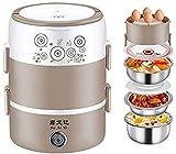 GOHHK Fiambrera eléctrica la calefacción, Calentador portátil la Comida Bento del Calentador la Comida con el envase del Acero Inoxidable