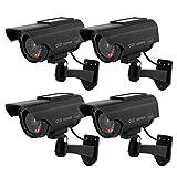 Hengu 4 Pieza Cámara Falsa Dummy Cámara con Energía Solar de Seguridad LED Parpadeante Sistema de Vigilancia Cámara Simulada CCTV