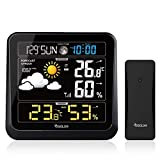 Osaloe Estación Meteorológica Inalámbrica con Sensor al Aire Libre, Termómetro Higrómetro Interior Exterior, Reloj Digital y Pantalla LCD, Monitor de Temperatura y Humedad (Negro)