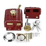 Cerrojo de seguridad para puerta exterior tradicional de alta seguridad, doble lengüeta, núcleo de cierre de cobre, acabado rojo, cuerpo de bloqueo con 3 llaves