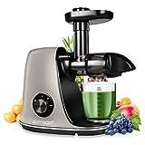 CIRAGO Juicer Machines, extractor de exprimidores de masticación lenta de dos velocidades, fácil de limpiar, motor silencioso, exprimidor de prensa en frío para verduras y frutas, sin BPA (gris)