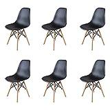 GrandCA HOME Pack 4/6 sillas, sillas de Comedor Silla de Oficina Silla de salón, Silla diseño nórdico Estilo (Negro-6)