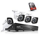 SANNCE XPoE Kit de 4 Cámaras de Vigilancia Seguridad 1080P CCTV 4CH NVR P2P y 4 Camaras 2MP IP66 Impermeable IR-Cut 36 LEDs con 1TB Disco Duro de vigilancia