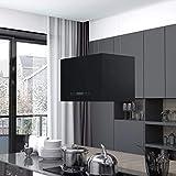 Benkeg Campana Extractora Colgante Táctil LCD Acero Recubierto Negro 55 X 37 X (62-133,5) Cm, 180 W, Ruido Bajo, Botones con Sensor