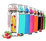 willceal Botella de Agua con Tapa para infusiones de Frutas, Resistente, con diseño a Prueba de Fugas, tamaño Grande,Ideal para Llevar Cuando Haces Deportes, para IR a Acampar (Oro Rosa)