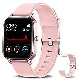 NAIXUES Smartwatch, Reloj Inteligente Impermeable IP67 Reloj Deportivo 1.4' Pantalla Táctil Completa con Pulsómetro, Monitor de Sueño, Podómetro, Notificaciones para Mujer Hombre (Rosa)