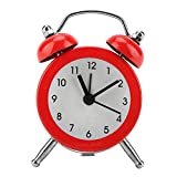Garosa Reloj Despertador Digital Portátil de 3 Pulgadas con Reloj de Alarma con Batería Inicio Hogar Campana Campana de Metal Uso En El Hogar Accesorio Despertador para Estudiante Adulto(Red)