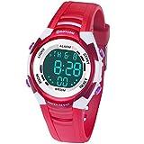 Relojes de Pulsera Electrónicos para Niños Niños Digital Relojes Deportes–5 ATM Reloj Deportivo Impermeable al Aire Libre con Alarma Cronómetro Luces de Colores de Fondo (Rojo)