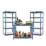 Paquete de iniciación para negocios pequeños o garajes, 2 estanterías y 1 mesa de trabajo de 300 mm de profundidad