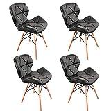 ZMALL - Juego de 4 sillas de comedor de piel sintética tapizadas con patas de madera, cojín de asiento suave para casa, restaurante, recepción, salón, sala de estar, esquina interior (negro)