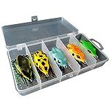 tyrrrdtrd señuelos de Pesca, 5 Unidades 5,5 cm/2,17 Pulgadas 3D Grande Rana Topwater Señuelo de Pesca al Aire Libre Crankbait anzuelos Bass Cebo Tackle Herramienta, Multicolor