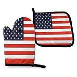 Foruidea American Flag U.S.A - Juego de manoplas y soportes para ollas de cocina resistentes al calor, guantes para horno para barbacoa y cocinar a la parrilla (juegos de 2 piezas)