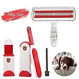 Yikaich Removedor de Pelos de Mascotas y Rodillo quitapelos para Mascota, Cepillo Removedor de Perro y Gato, con Base Autolimpiador, 3 Piezas