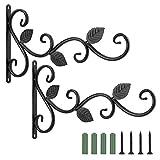 Lewondr Estante de Suspensión de Planta en Jardín al Aire Libre, [2 Piezas] Soportes de Pared de Metal con Patrón de Hojas, Arte de Hierro Montado en la Pared Tripod con Clavos Incluidos, Negro