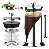 TRIPLE TREE Cafetera Francesa con Escala 1000ml, Cafetera Émbolo con Filtración de 4 capas, Tetera Cristal con Soporte de Acero Inoxidable 304 (Despegable), para Lavavajillas - Plata