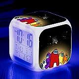 KFGJ Reloj Despertador Digital, Luz De Despertador con Alarma Pequeña, Reloj Despertador De Viaje, Reloj De Batería, Cambio De Color Colorido Regalo Among us B