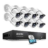 ZOSI 4K/8MP Kit de Cámaras Seguridad 8CH H.265+ Videograbador con 8X Cámara de Vigilancia Exterior, 2TB Disco Duro, Visión Nocturna, Alarma de Movimiento, P2P
