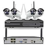 Kit de Seguridad WiFi Vigilancia Inalámbrica Sistema,1080P 4CH HD NVR kit ,4 un 1080P CCTV Seguridad Cámara, 65ft Night Vision,P2P,Motion Detection,sin HDD(Compatible con cable e inalámbrico)