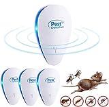 Repelente Ultrasónico, 4 Pack Plagas Control Interiores Repelente Ultrasónico de Plagas, Electrónico Ahuyentador Alta Potencia, para Interiores Mosquitos, Moscas, Ratones 100% Inofensivo para Humanos