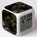 Superd Mesita de Noche para niños Reloj Despertador Digital LED luz de Noche Colorida Estado de ánimo Alarma Reloj Cuadrado Mudo con Puerto de Carga USB Viaje pequeño Reloj Despertador Regalo Q3254