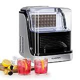 Klarstein Kristall XL máquina de hielo - hielo transparente, máquina de cubitos, cubitos de dos tamaños distintos, depósito de 2,5 litros, extraíble, recipiente de 600 gramos, plata-negro
